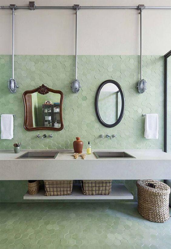 banheiro vintage com cerâmica neo-mint