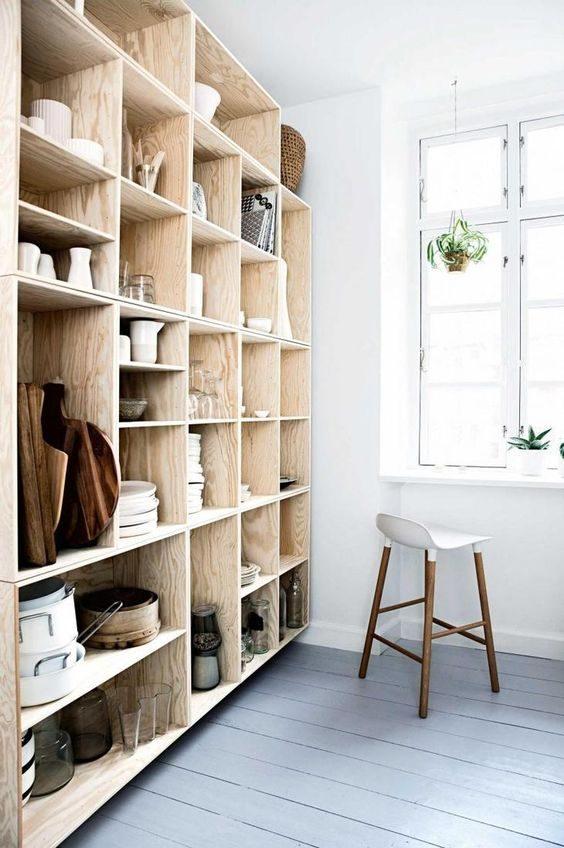 dipensa open shelving com vibe escandinavo