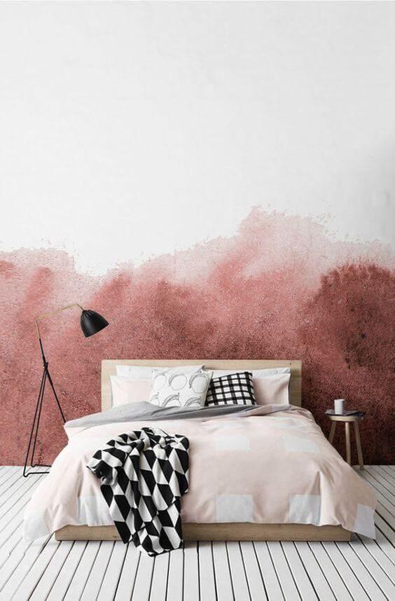 parede do quarto com degradê rosa