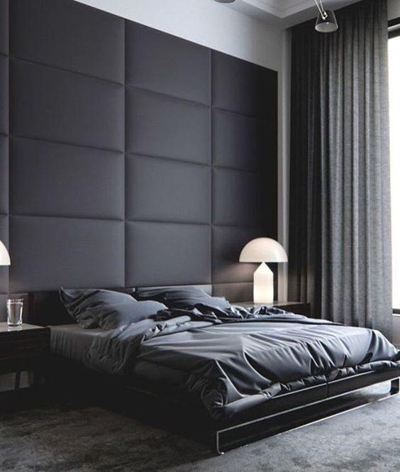 cabeceira da cama em preto com textura