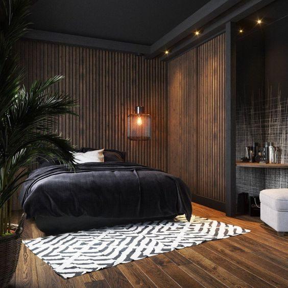 dormitório com preto em diferentes texturas