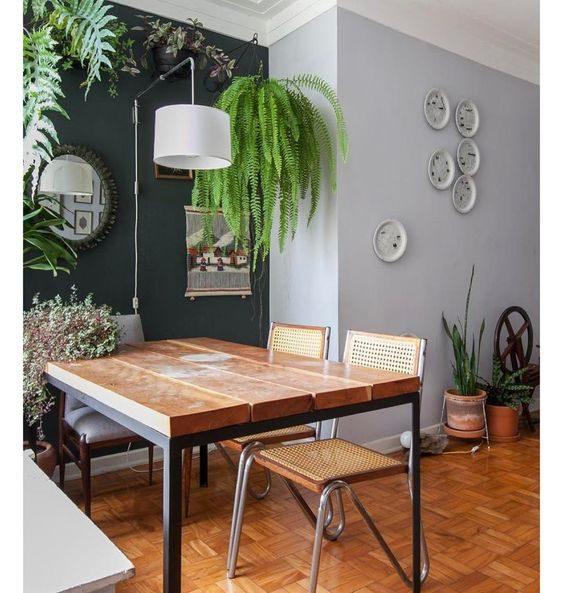 sala de jantar no estilo floresta urbana com samambaia pendurada.