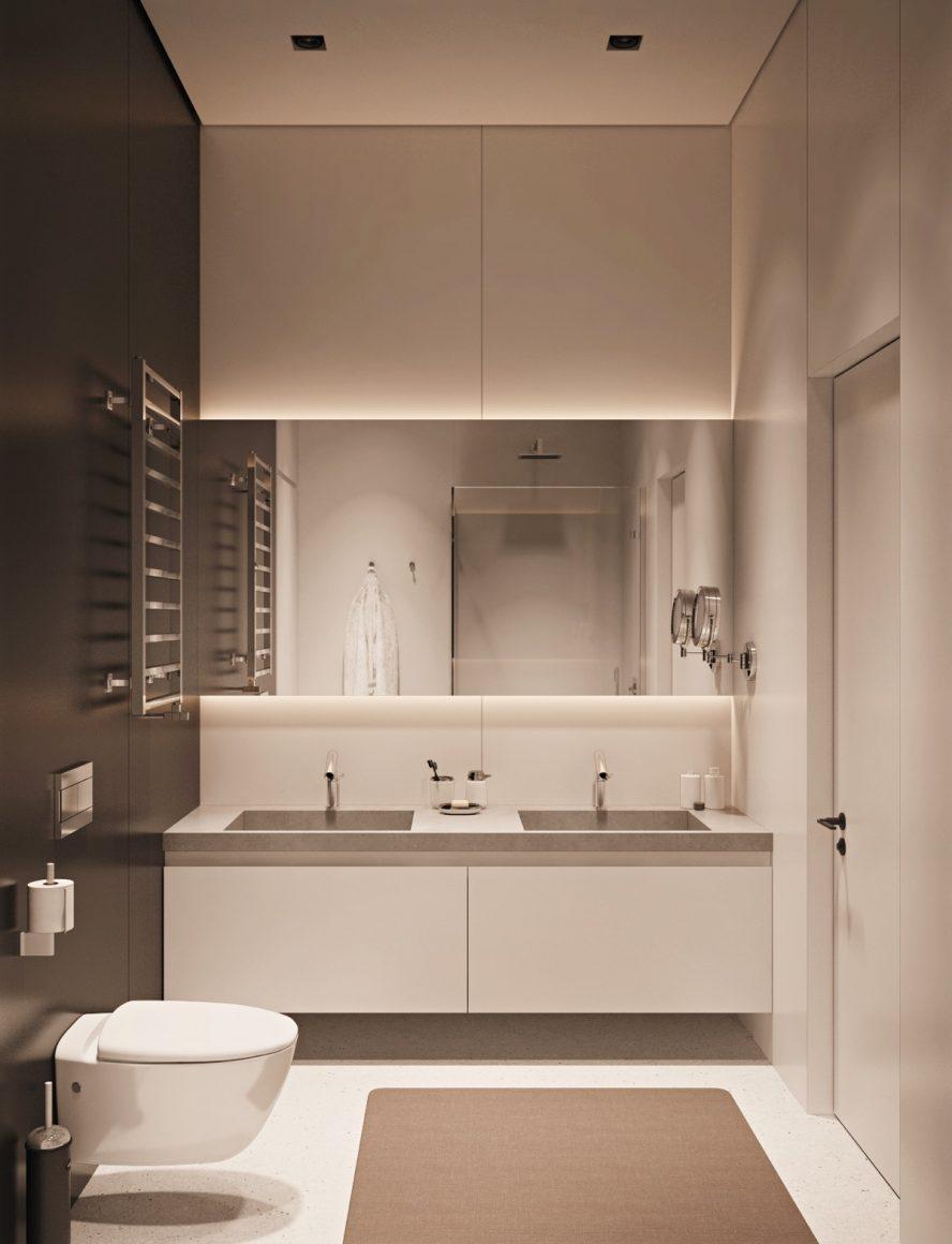 banheiro minimalista todo cinza