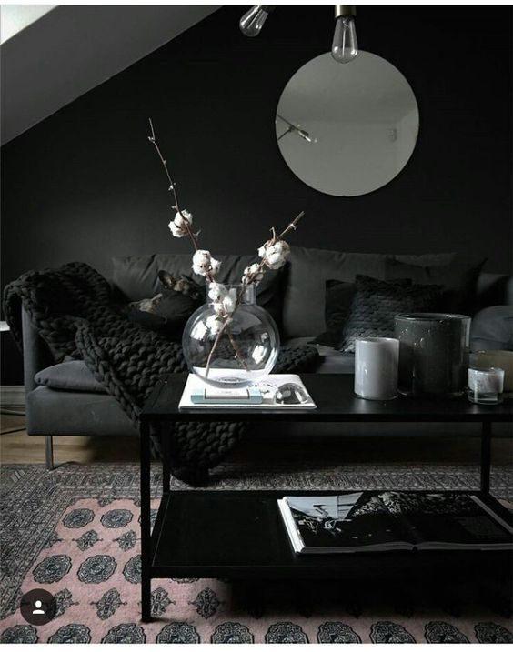 estar com decoração toda em preto