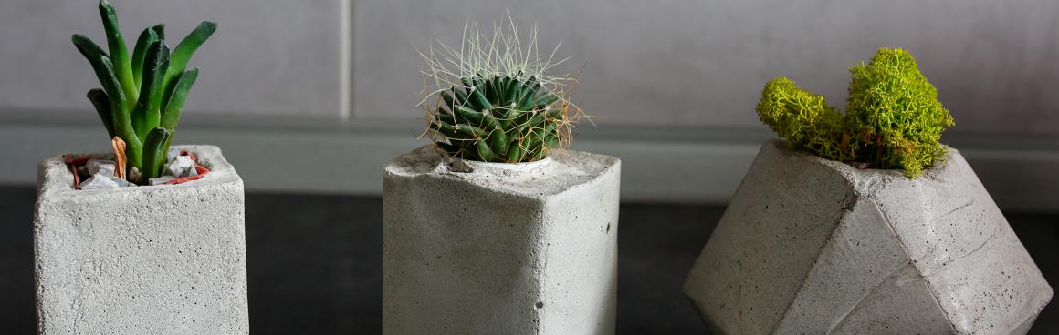 três vasos de cimento