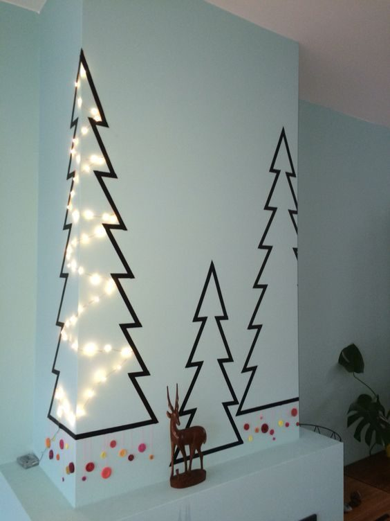 árvore de natal de washi tape
