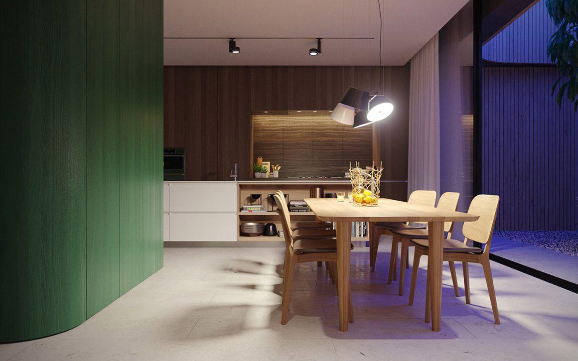 ambientes com verde em destaque