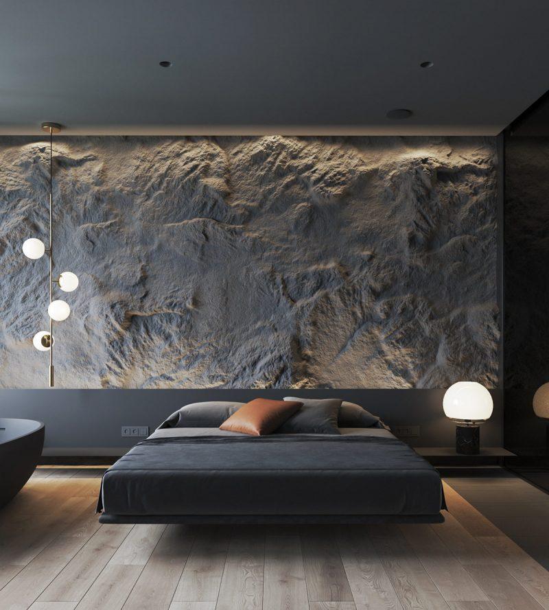 décor escuro com texturas