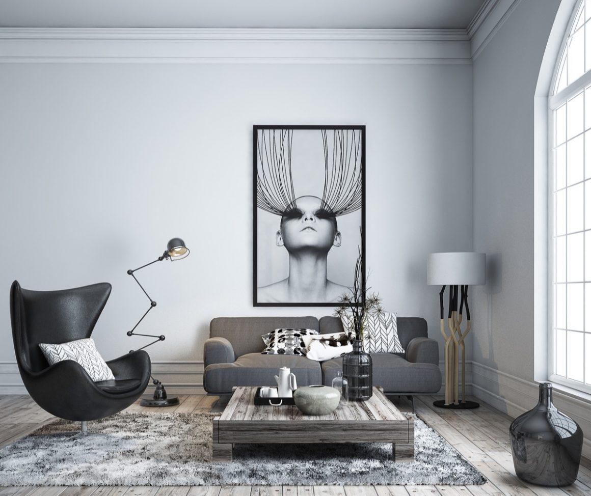 living com decoração cinza