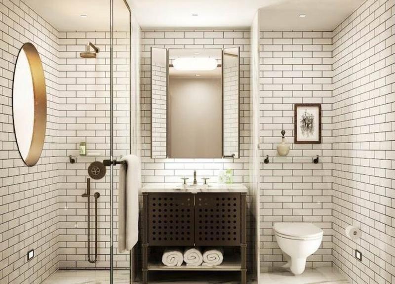 banho revestido com subway tile branco com rejunte preto