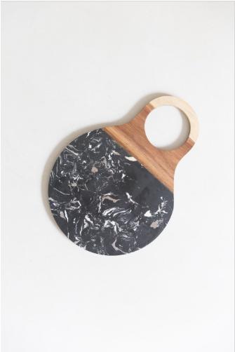 tábua para corte black marmorizada
