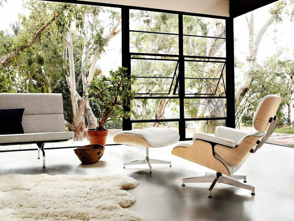Eames-lounge-chair-and-ottoman-designed-in-1956-in-white