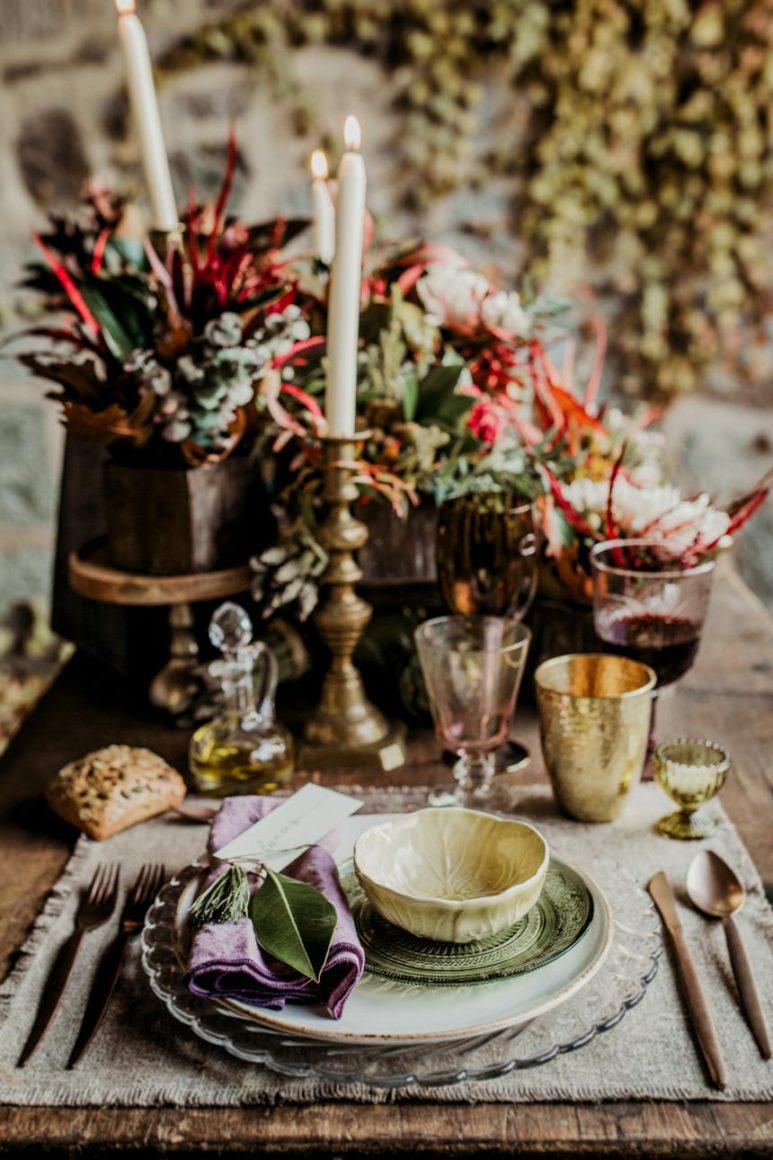 mesa posta-mix de pratos diferentes