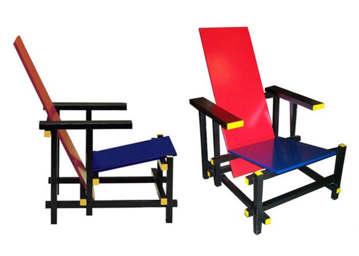 Cadeira Vermelha e Azul Mondrian