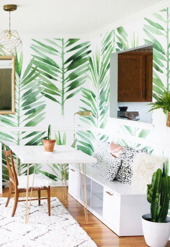 sala de jantar mood escandinado com papael de parede