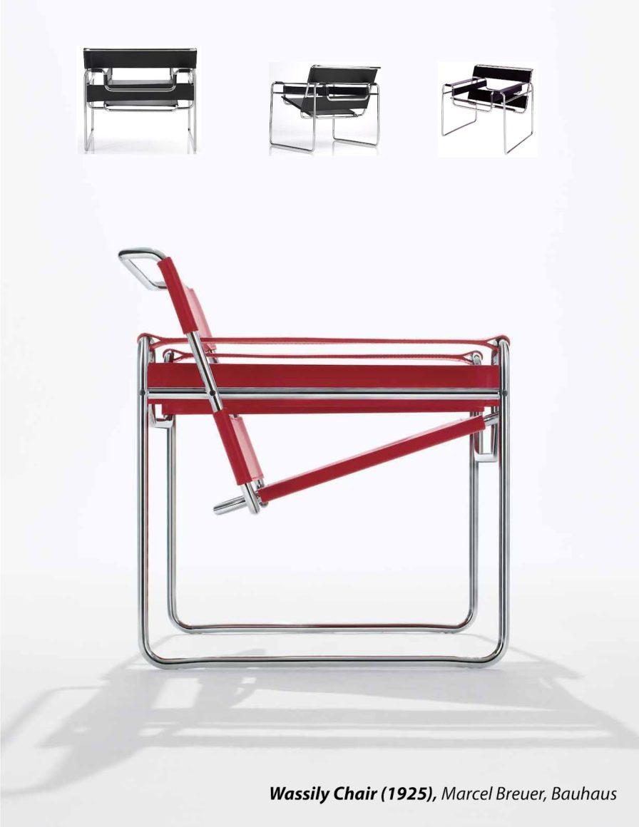 Cadeira Wassily vermelha e preta