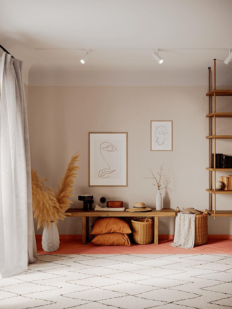 Um Apartamento Pequeno Puro Terracota